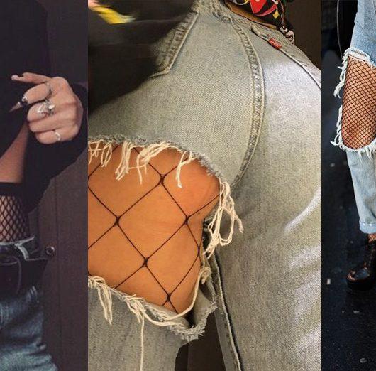 calze a rete e jeans strappati